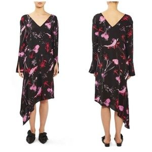 Topshop silk maxi dress pink and black size 2 xs
